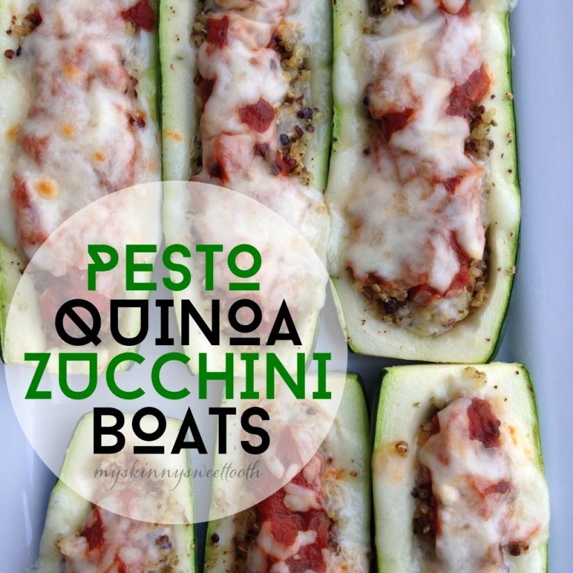 pesto quinoa zucchini boats |my skinny sweet tooth