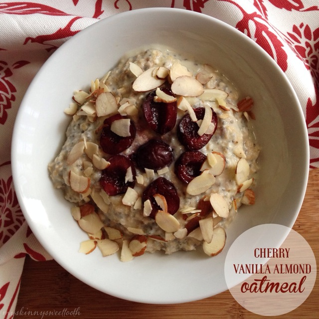 cherry vanilla almond oatmeal | my skinny sweet tooth