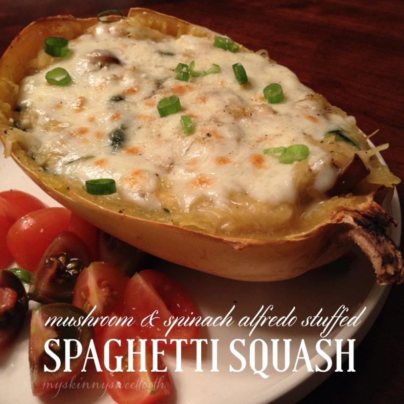 mushroom & spinach alfredo stuffed spaghetti squash | my skinny sweet tooth
