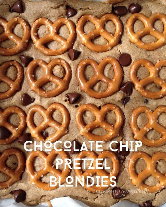 chocolate chip pretzel blondies | my skinny sweet tooth