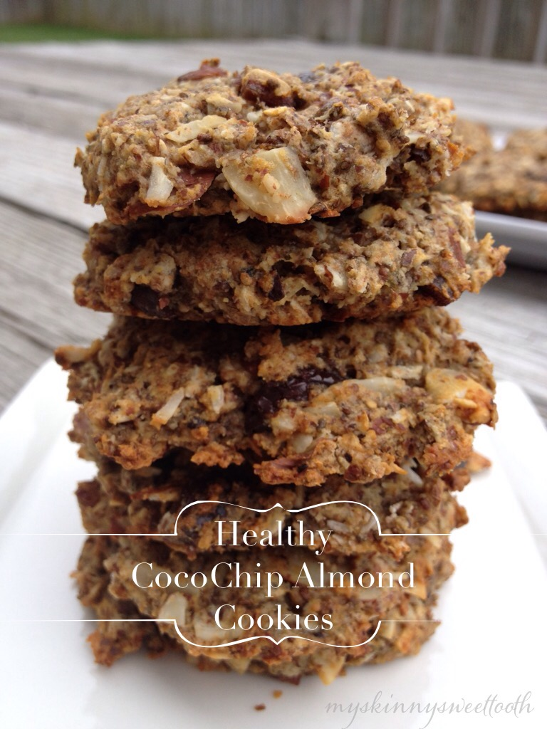 healthy cocochip almond cookies | my skinny sweet tooth