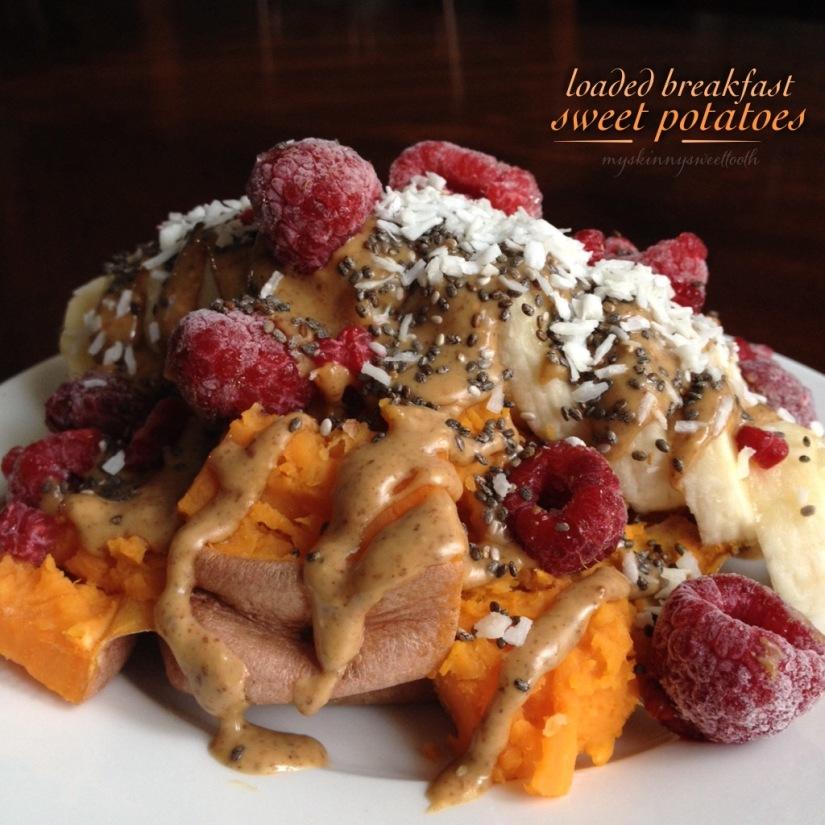 loaded breakfast sweet potatoes   my skinny sweet tooth