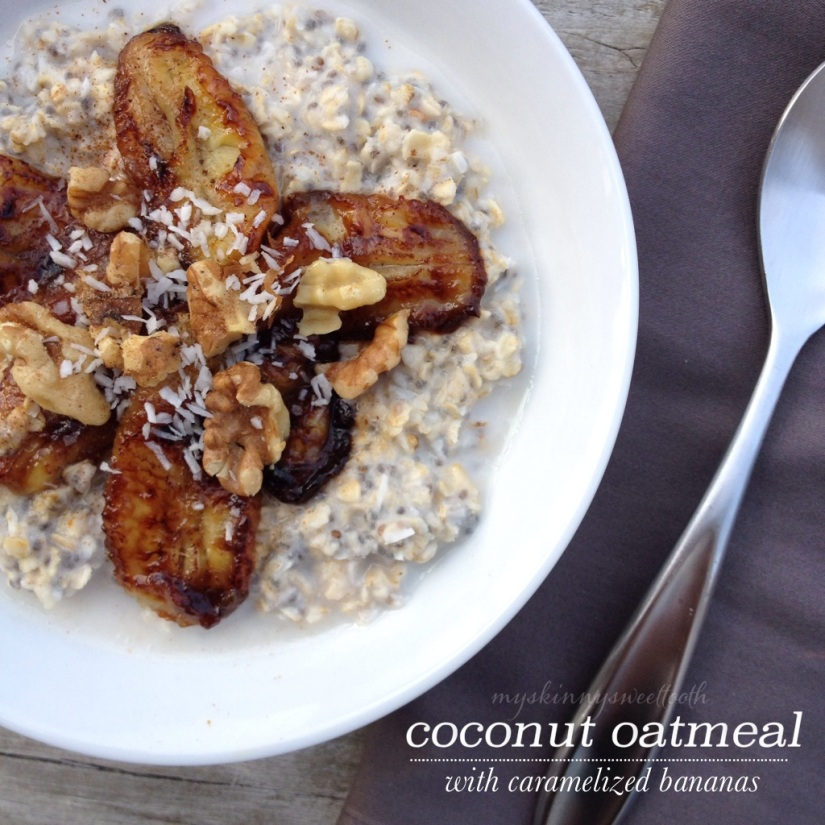 coconut oatmeal with caramelized banana | my skinny sweet tooth