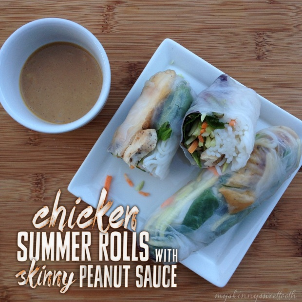 chicken summer rolls with skinny peanut sauce   my skinny sweet tooth