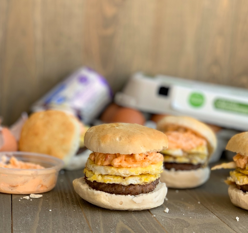 Sausage, Egg & Pimento Cheese Biscuit Sandwich | My Skinny Sweet Tooth